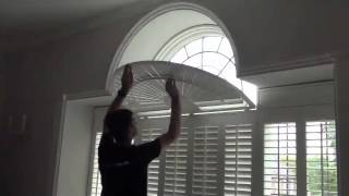 Operating Shaped Window Shutters With A Curved Fan Top - See How The Louvre Blades Move