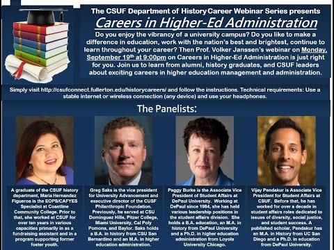 CSUF Careers in History Webinar - Higher Ed Administration