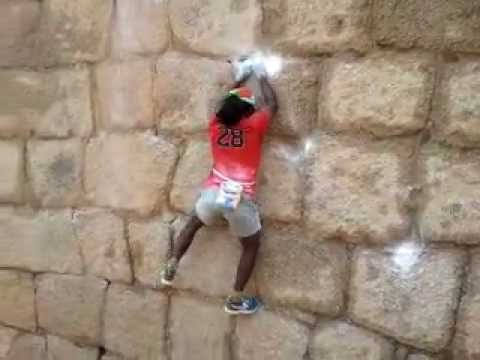 Indian Spiderman Jyothi Raju showing his trick.