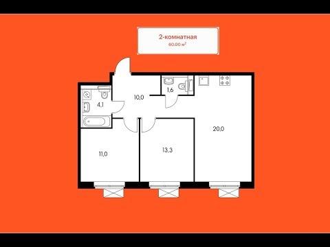 Шоурум ПИК Полярная 25,  2х-комнатная квартира 2EM7 60кв