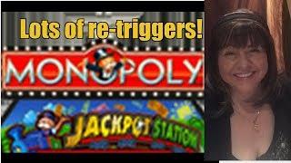 RE-TRIGGERS! MONOPOLY JACKPOT STATION SLOT MACHINE-WYNN CASINO