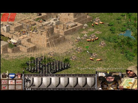 how to defeat to two Pigs in Stronghold Crusader|| Stronghold Crusader Game Zone (Human) vs 2 Pigs |