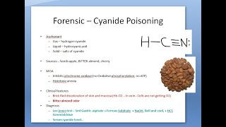 Forensic 350 a Cyanide Poisoning Poison Almond Brick Red discoloration  skin bitter lee jones test