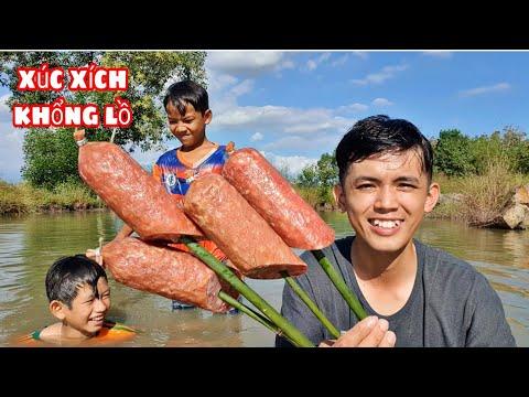 Sang Vlog   Lần Đầu Ăn Xúc Xích Khổng Lồ & 1 Ngày Câu Cá Ngoài Đồng Ruộng