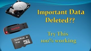 How To Recover Deleted File from your pendrive or memory card or Hard drive