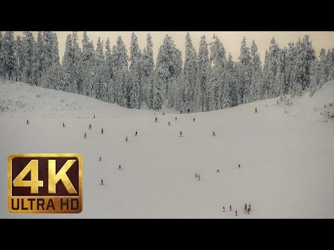 4K Winter Ski Resort Video with Soothing Music for Relaxation - Summit at Snoqualmie, USA