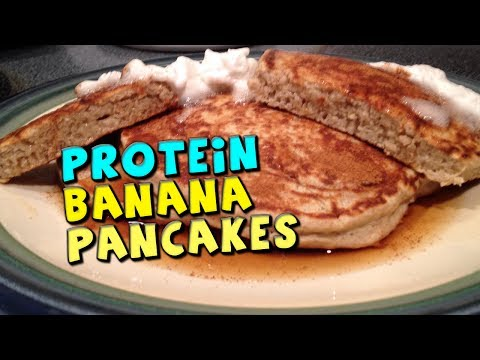 PROTEIN Banana Pancakes Recipe (GREAT Complex Carbs/Fiber/49g Protein!)