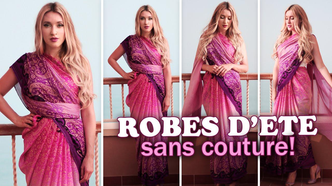 robes d 39 t sans couture comment mettre un sari indien youtube