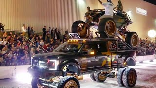 SEMA CRUISE 2019. LIFTED TRUCKS LEAVING SEMA.