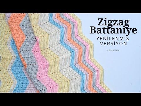 Zigzag Battaniye Yapılışı  (YENİ BAŞLAYANLAR İÇİN DETAYLI ANLATIM) (eng. sub)