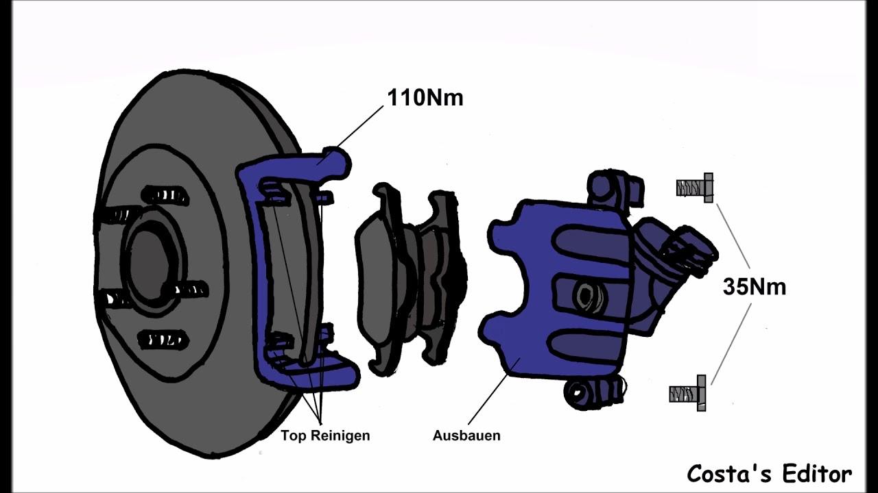 ford kuga 2 5 4x4 147 kw 03 2009 anleitung bremsen hinten wechseln mit anzugsdrehmomente youtube. Black Bedroom Furniture Sets. Home Design Ideas