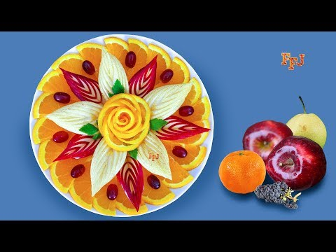 DIY Fruit Centerpiece & Arrangement Ideas - Orange, Apple, Pear & Grapes
