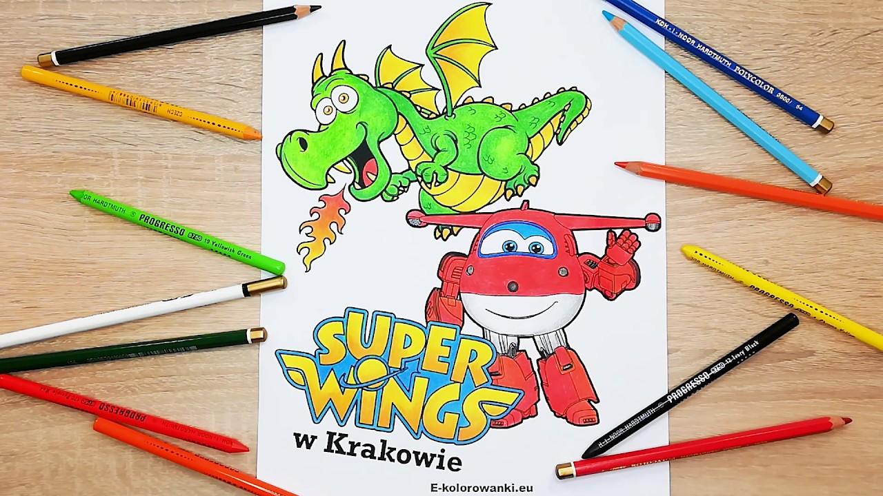 Super Wings I Smok Wawelski Kolorowanka Kolorowanie Youtube