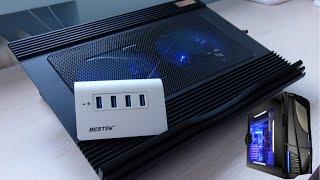 Bestek | 2 Accesorios para tu PC | Cooler + Hub 4 puertos 3.0