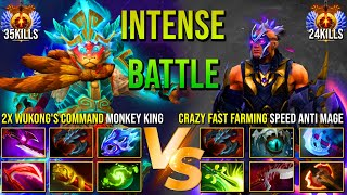 INTENSE HARD CARRY BAṪTLE   EPIC 2x Wukong Command Monkey King VS Crazy Fast Farm Speed Anti Mage