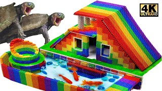 Download lagu Howto Build House, Swimming Pool, Ground water For Turtle (ASMR Satisfying)  MagnetWorld Series #222