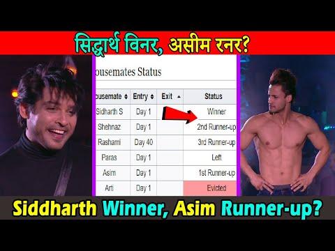 बिग बॉस १३ विनर बने सिद्धार्थ और असीम दूसरा । Bigg Boss 13 Winner Siddharth, Runner Up Asim Leaked?