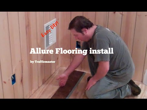 Allure by Trafficmaster flooring install (Grip Strip planking) - YouTube