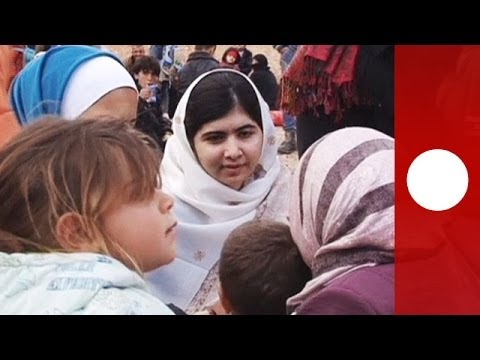 Teenage activist Malala meets Syrian refugees crossing Jordan border
