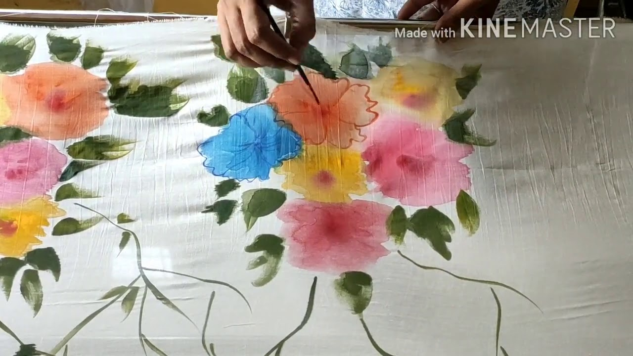 Easy free hand fabric painting on soft silk/ saree / scarf/ duptta