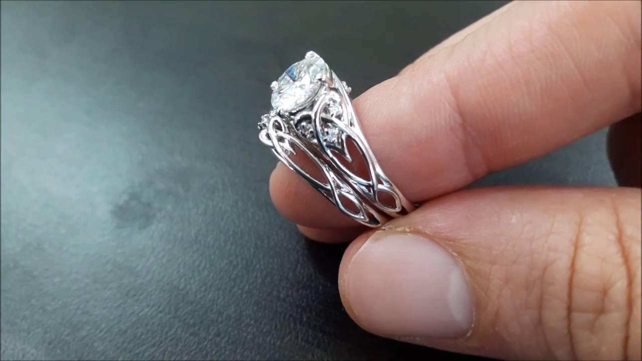 14K White Gold Unique Engagement Rings 2 Carat Diamond ...