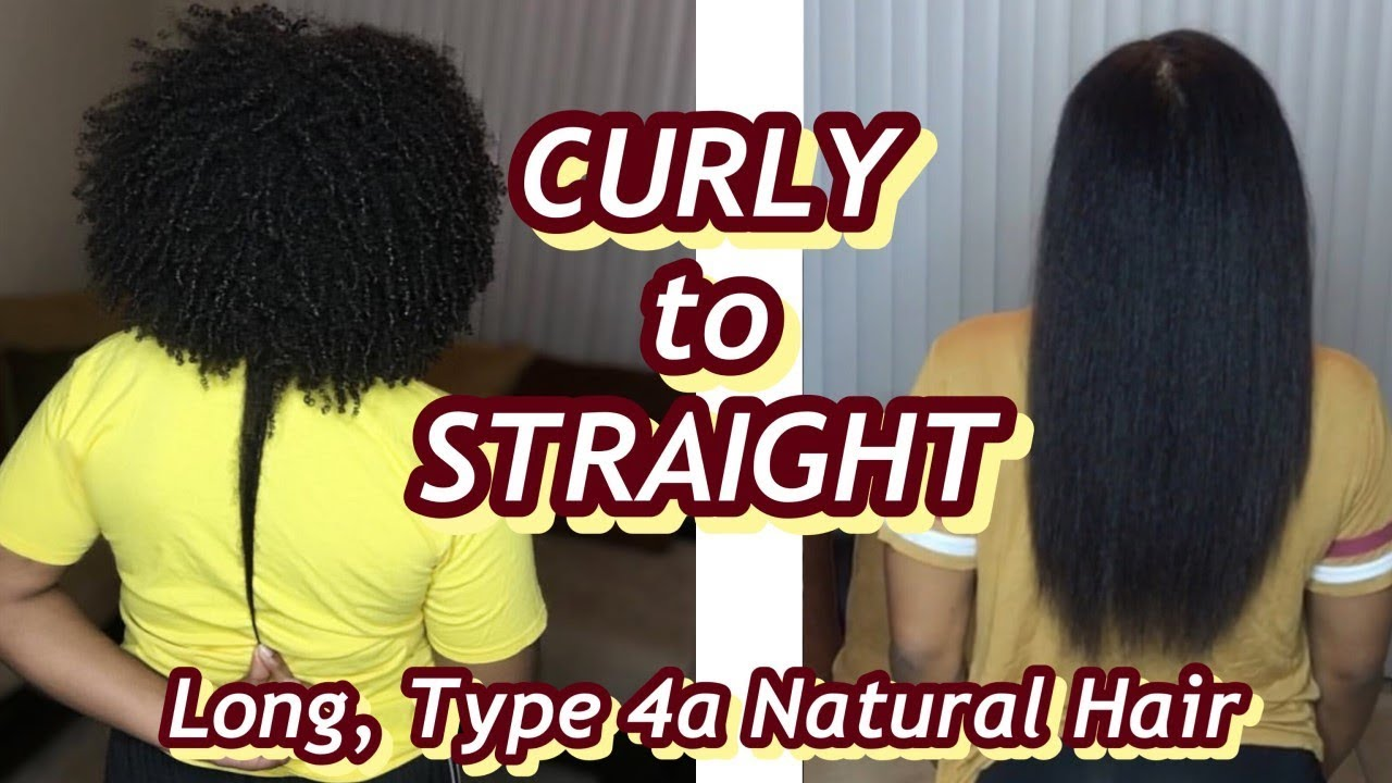 CURLY to STRAIGHT | Watch Me Straighten My Long, Type 4a Natural Hair *Not a Tutorial*