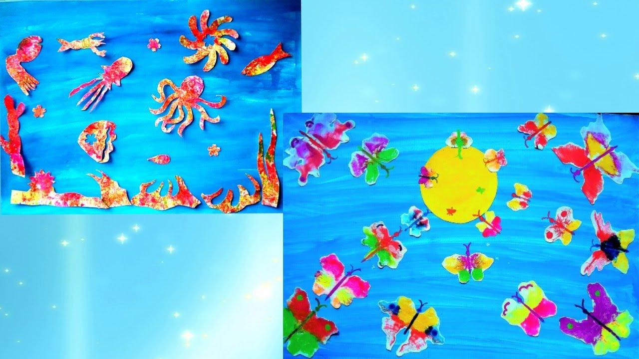2 идеи  Рисуем отпечатками, море и бабочек