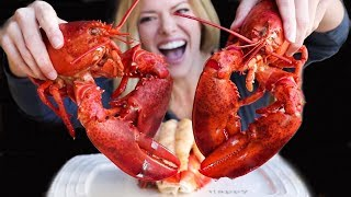 LOBSTER MUKBANG | My first time cracking and eating a whole lobster!!!