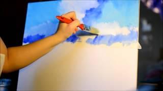 Tutorial Pictura in acrilice - Cum sa pictam un peisaj marin - Partea 1
