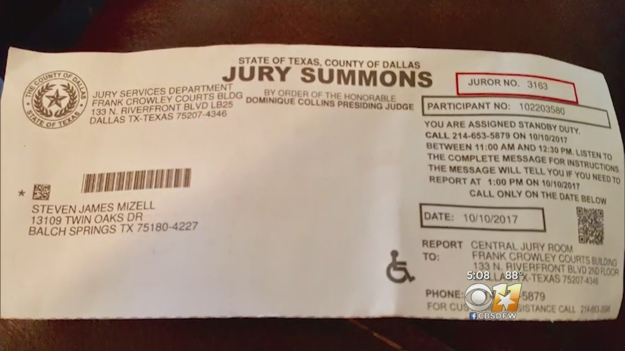 Dallas Jury Duty Letters Arrive A Day Before Court   YouTube