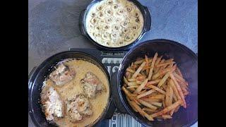 Découvrez 3 recettes simultanées au micro 3 Tupperware ! Saltimbocca, potatoes et flan coco banane