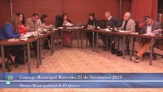 Concejo Municipal Jueves 21 de Noviembre 2018 - El Quisco