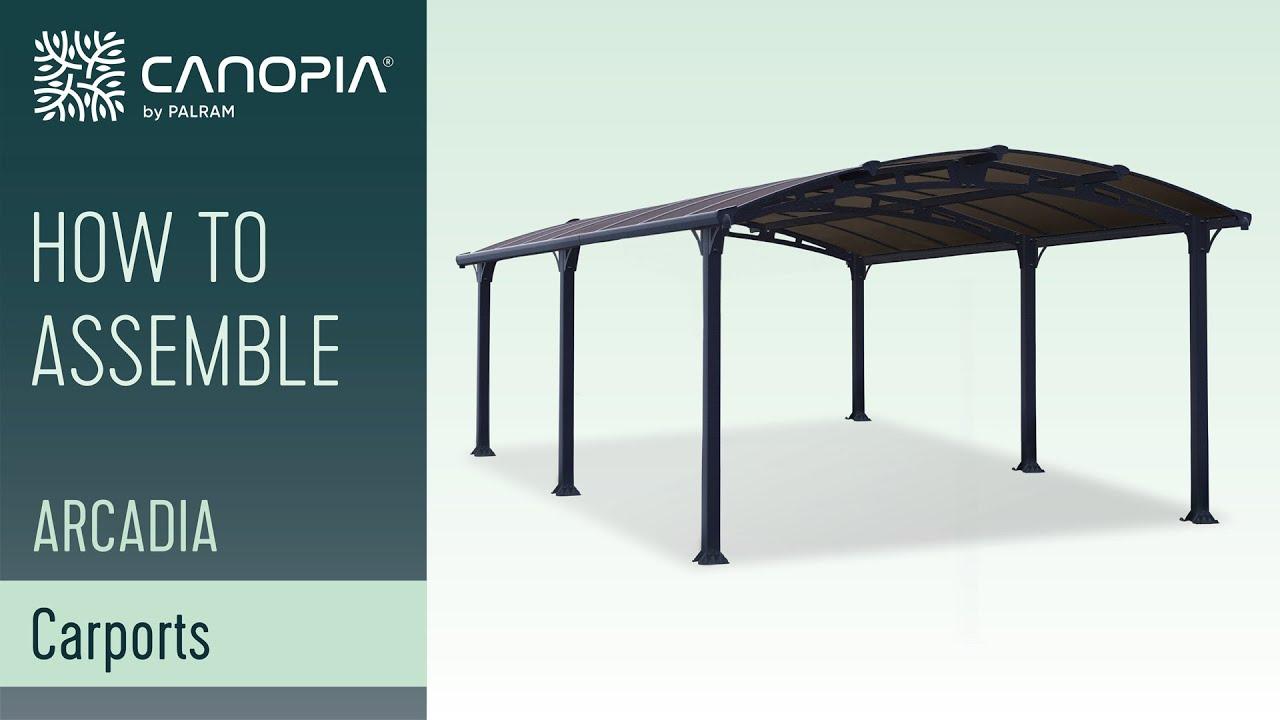 How To Install Diy Arcadia Carport Kit Palram Canopia Youtube
