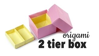Origami 2 Tier Box Tutorial ♥︎ DIY Storage Box ♥︎