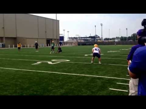 LSU players on pass gauntlet