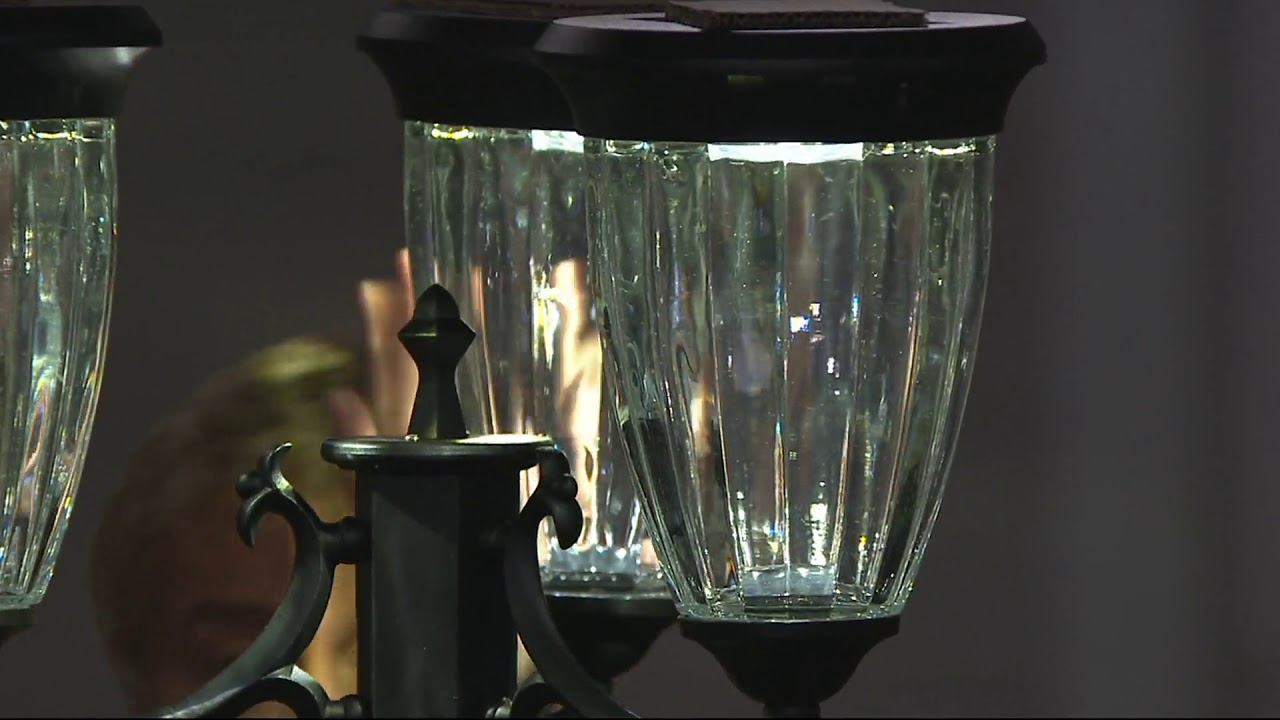 Energizer 3 Fixture Solar Lamp Post With Planter Base On Qvc Youtube