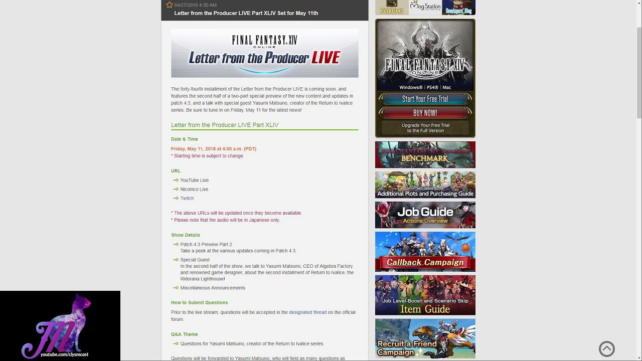 FFXIV: Letter from the Producer LIVE Part XLIV Date Set!