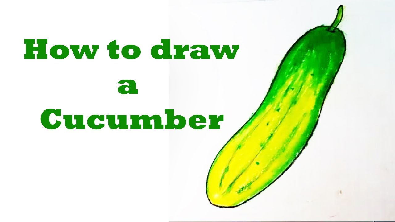 How to draw a cucumber step by step // Cucumber drawing for kids ... for Drawing Cucumber  113cpg