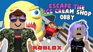 UN HELADO FEO EN ROBLOX! D: Escape the ice cream shop obby!.