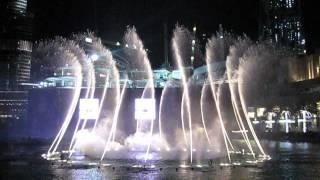 Dubai Mall water fountain night show.