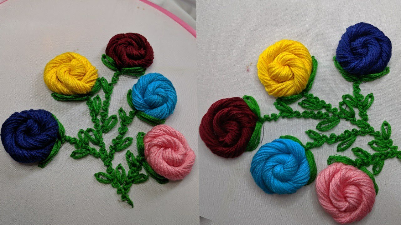 Amazing Hand Embroidery Rose flower design trick | Very Easy Hand Embroidery flower design idea