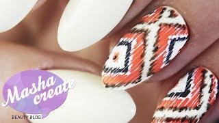 Этнический маникюр с узорами. Простой дизайн ногтей гель пастой