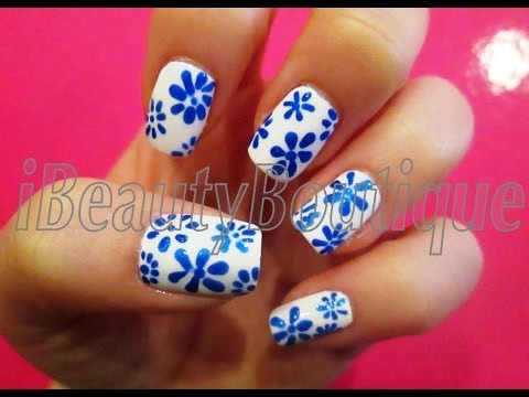 Easy Blue And White Flowers Nail Art Ibeautyboutique Youtube