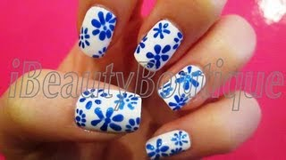 Repeat youtube video Easy Blue And White Flowers - Nail Art | iBeautyBoutique