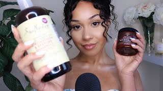 ASMR HAIR CARE ROUTINE  TAPPING ON HOLY GRAIL HAIR PRODUCTS W SOFT WHISPERS