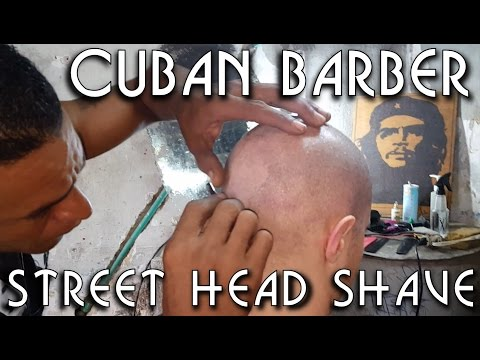 💈 Cuban Street Barber - Head Shave and little massage - ASMR no talking - Honeymoon
