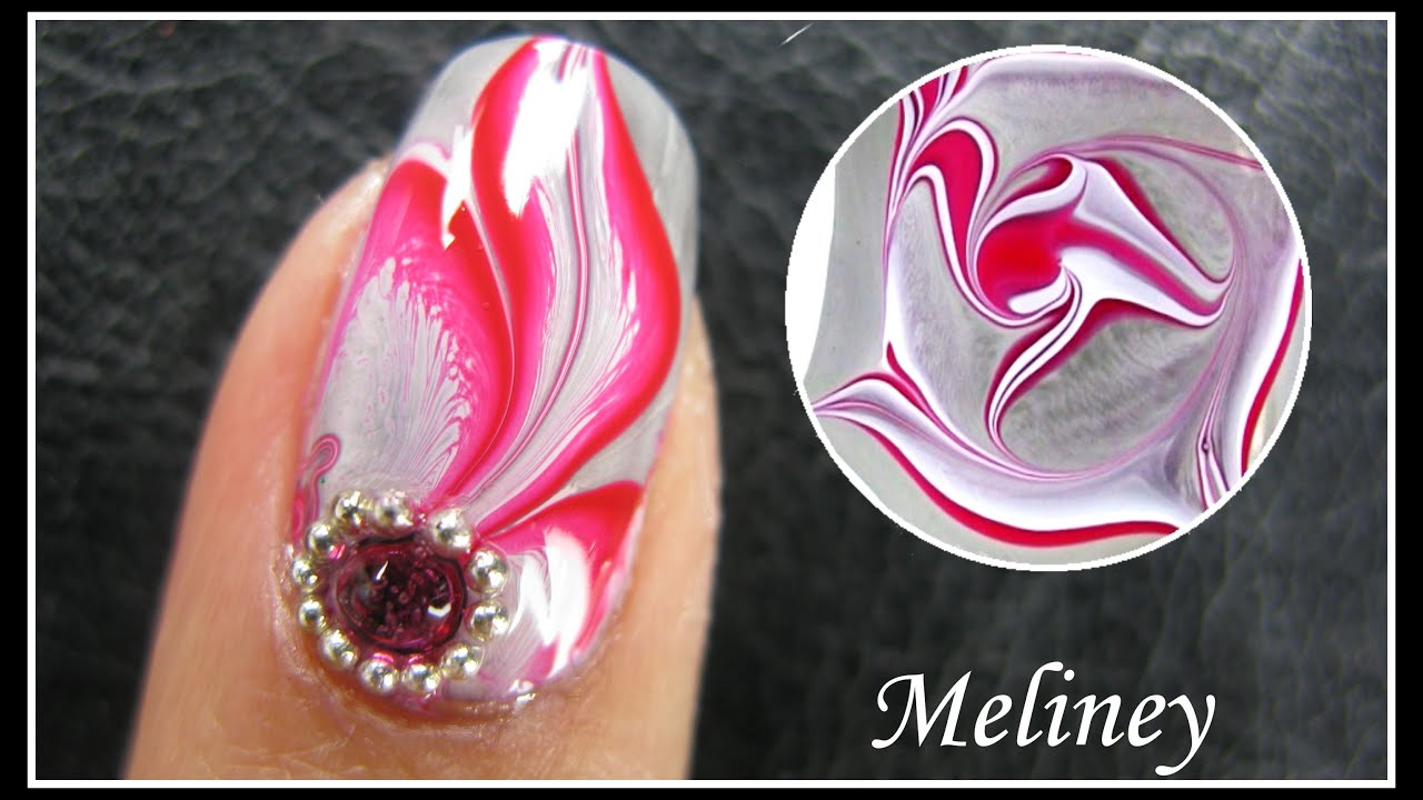 WATER MARBLE NAIL ART TUTORIAL  ENCHANTED FOREST RED