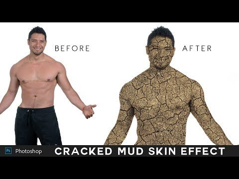 Photoshop Tutorial : Change Person Skin into Cracked Mud Effect - Turn into Fire or Stone Texture]