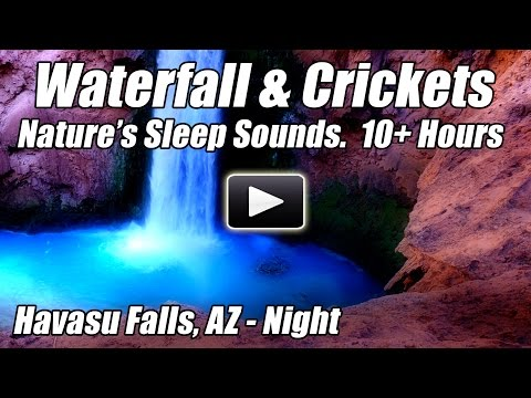 10 Hours Relaxing Waterfall & Crickets DEEP SLEEP NATURE SOUNDS Water Relax Sleeping Blue Nightlight