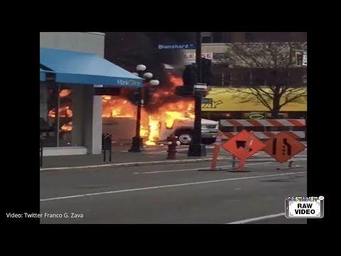 Commuter bus into flames